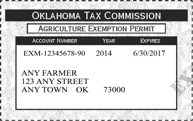 ok-exemption-permit-front Sales Tax Exemption Form Example on