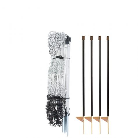 RaccoonNet® 4/18/12 Kit, (100' roll of black & white netting with single spikes & 4 support posts)