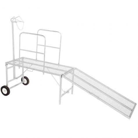 Trimming stand with head piece and optional side rails, ramp or wheel kit