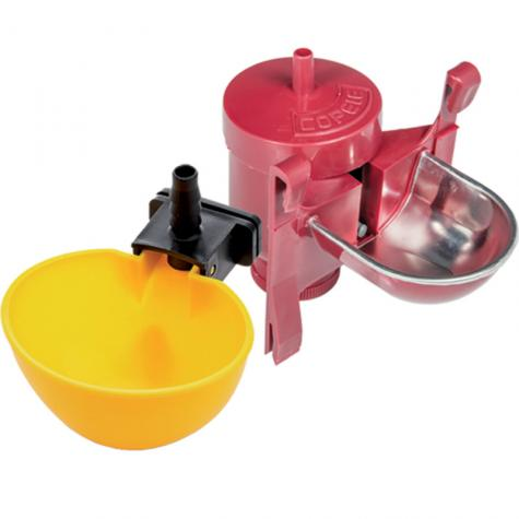 Fit drinkers or waterers to poultry or rabbit pens for constant access to fresh water.
