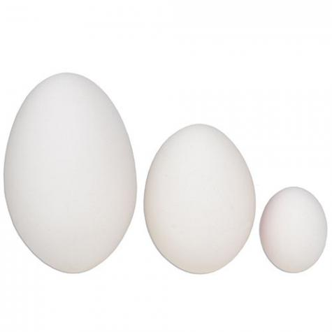 "Sizes: Goose egg (3""), Chicken egg (2.25"") and Quail egg (1.25"")."