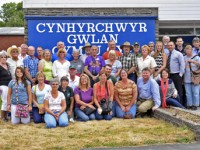 Group picture on England Tour  Group photo taken by A. Richard Cobb outside the Brecon Wool Center.