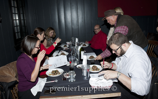 Judges table enjoy the sights, aroma and tastes of their fabulous lamb dishes.