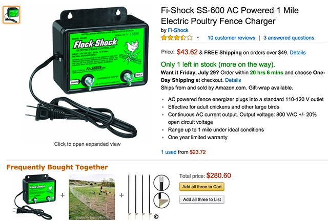 Screenshot of Amazon website with a dangerous combination of fence and energizer.